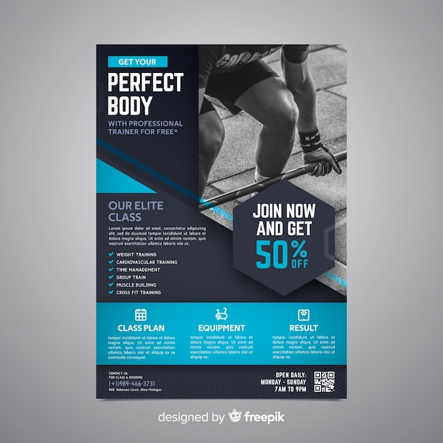Спортивный постер с фото Бесплатные векторы