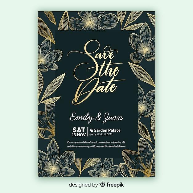 黄金の花の結婚式の招待状のテンプレート 無料ベクター