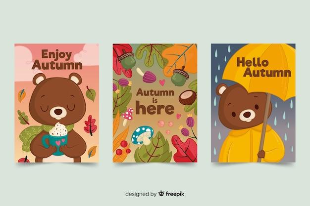 Пакет медвежьих осенних открыток Бесплатные векторы