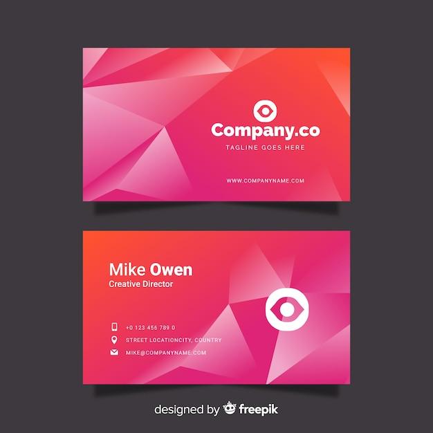 Абстрактный розовый градиент визитная карточка Бесплатные векторы
