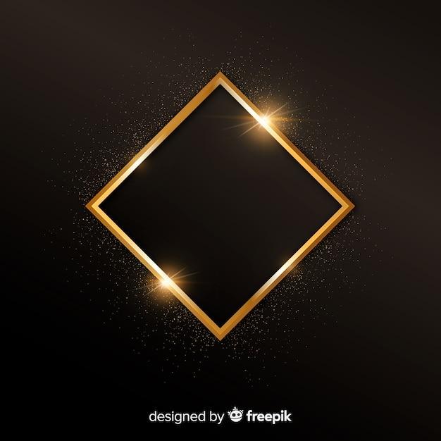 金色の輝くフレームの背景 無料ベクター