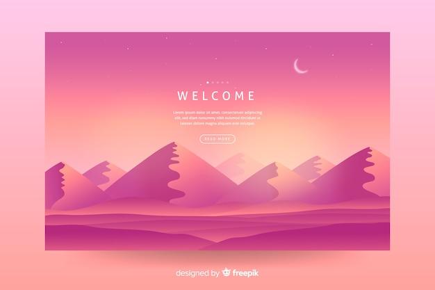 ランディングページのピンクのグラデーション風景の背景 無料ベクター