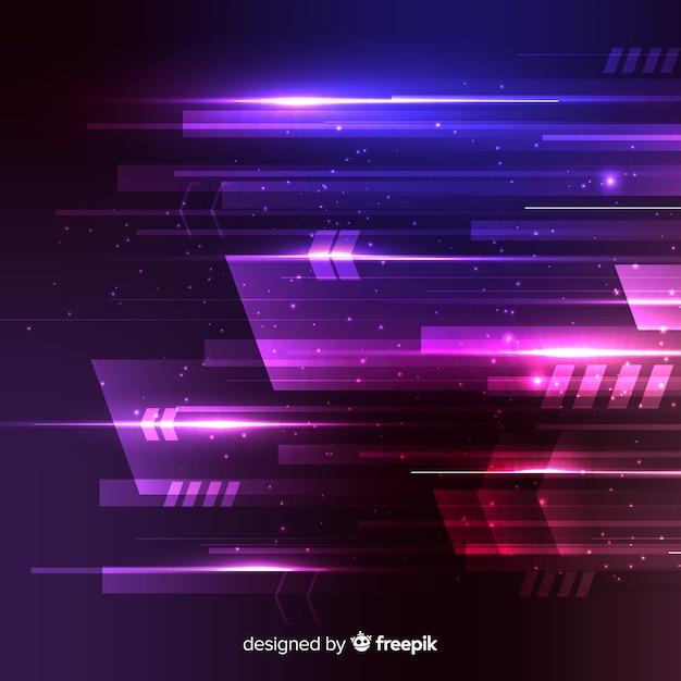Технология концепции фон с неоновым светом Бесплатные векторы