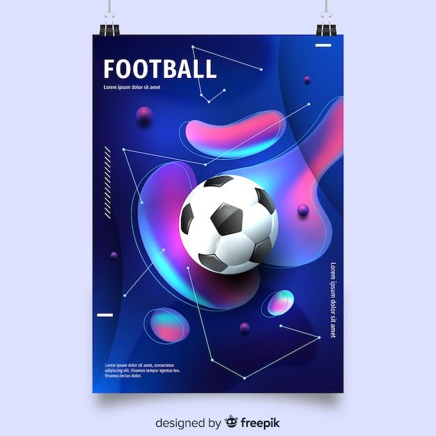 流体形状のサッカーポスターテンプレート 無料ベクター