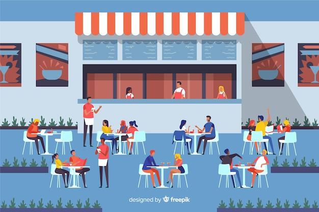 Стая людей, сидящих в кафе Бесплатные векторы