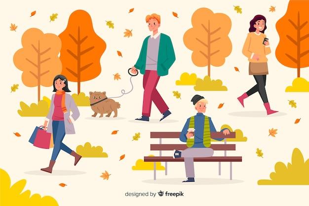 秋の公園で人々のイラスト 無料ベクター