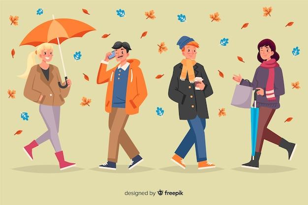 秋を歩く人のイラスト 無料ベクター