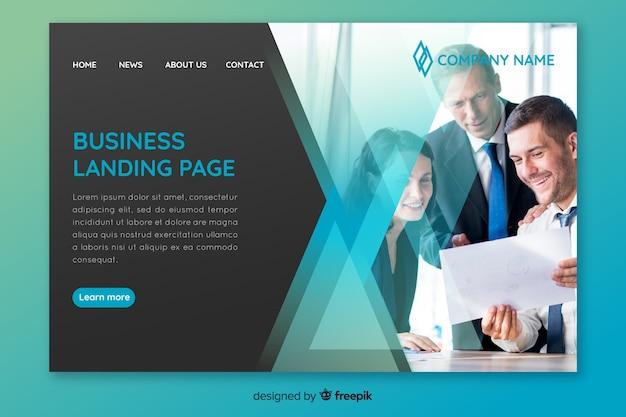 写真付きのビジネスランディングページテンプレート 無料ベクター