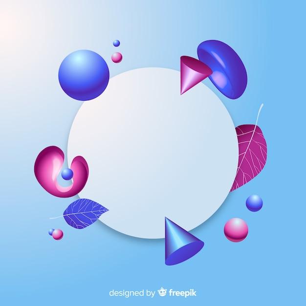 三次元の幾何学的形状を持つ空白のバナー 無料ベクター