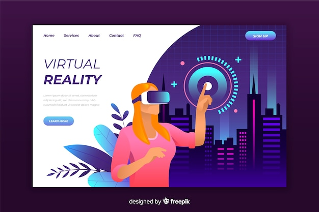 仮想現実のランディングページテンプレート 無料ベクター