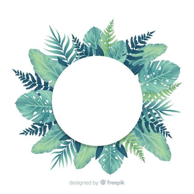 Естественный тропический фон с листьями Бесплатные векторы