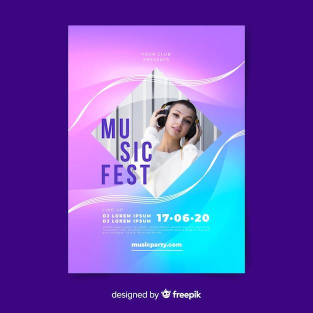 写真と音楽祭ポスターテンプレート 無料ベクター