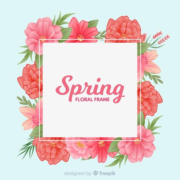 花のフレームと単純な春の背景 無料ベクター
