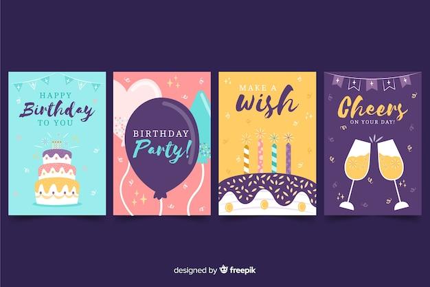 Коллекция рисованной открытки на день рождения Бесплатные векторы