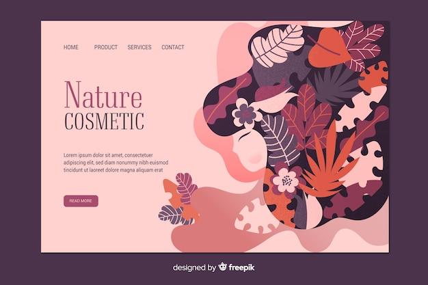 自然化粧品のランディングページテンプレート 無料ベクター