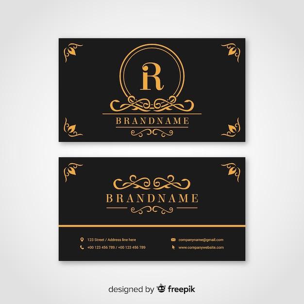 Черно-золотая визитка Бесплатные векторы