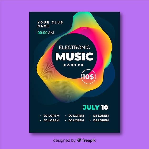 電子音楽祭のポスターテンプレート 無料ベクター