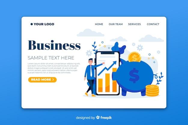 フラットビジネスランディングページテンプレート 無料ベクター