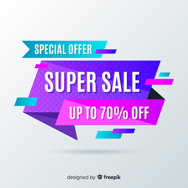 Красочный стиль фона оригами продаж Бесплатные векторы