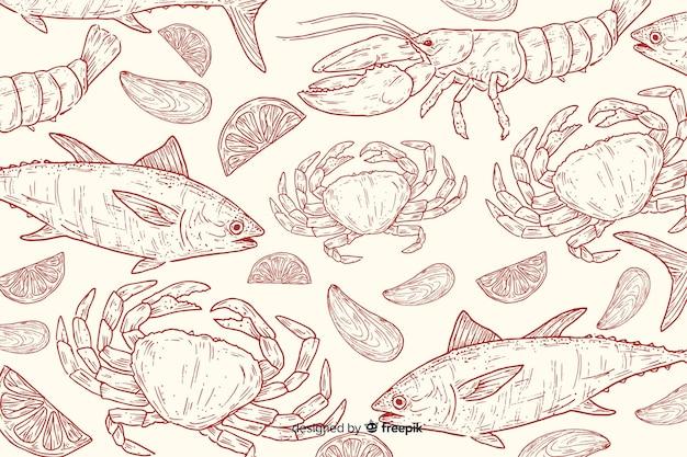 手描きの自然食品の背景 無料ベクター