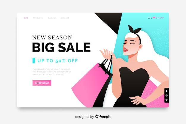 Большая распродажа целевая страница с женщиной и сумками Бесплатные векторы
