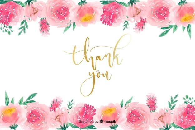 Спасибо фон с цветочным декором Бесплатные векторы