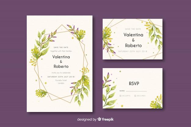 水彩の結婚式のひな形テンプレートコレクション 無料ベクター