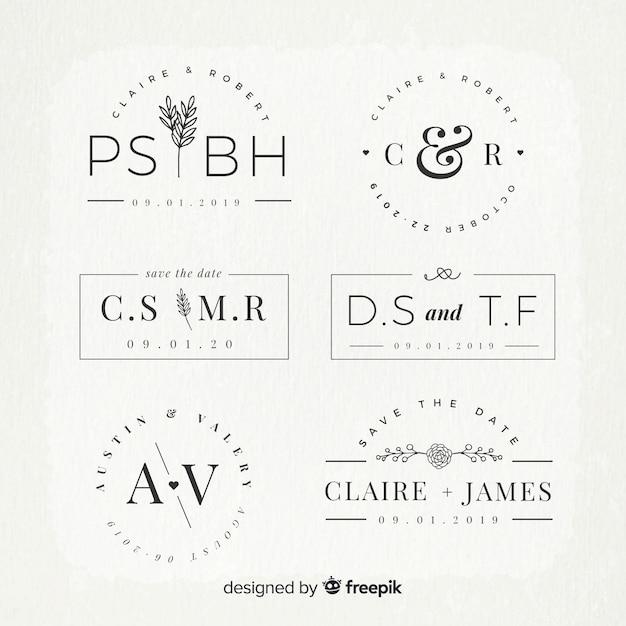 Свадебные монограммы логотип шаблоны коллекции Бесплатные векторы