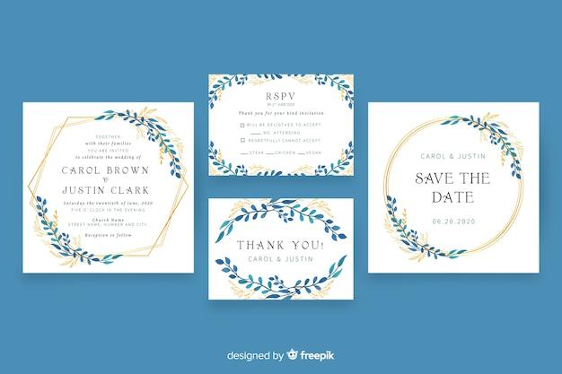 花の結婚式のひな形テンプレートパック 無料ベクター