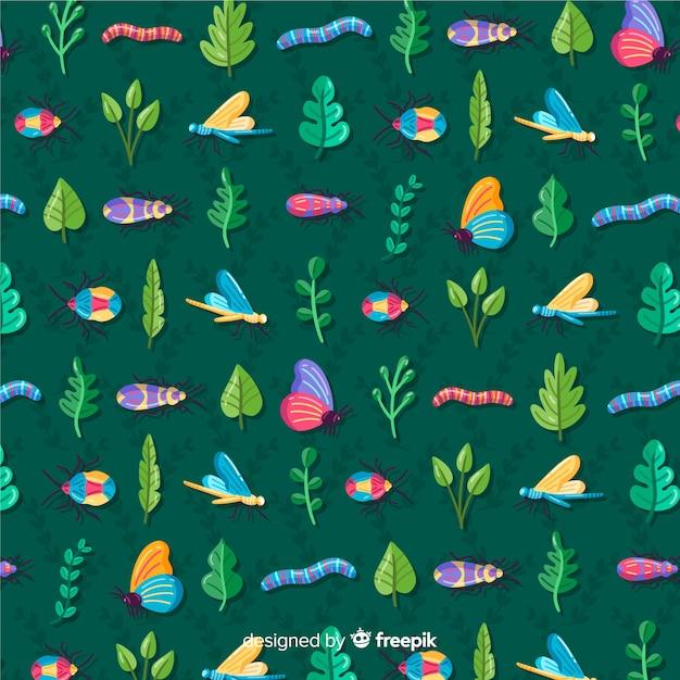 昆虫や植物のパターンの背景 無料ベクター