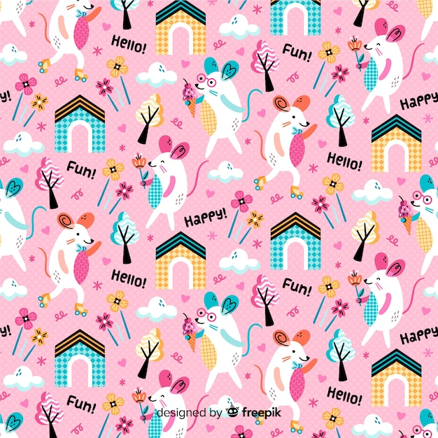 マウスと植物のピンクのパターンの背景 無料ベクター
