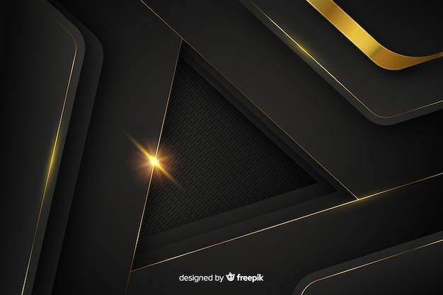 黄金の抽象的な形と暗い背景 無料ベクター