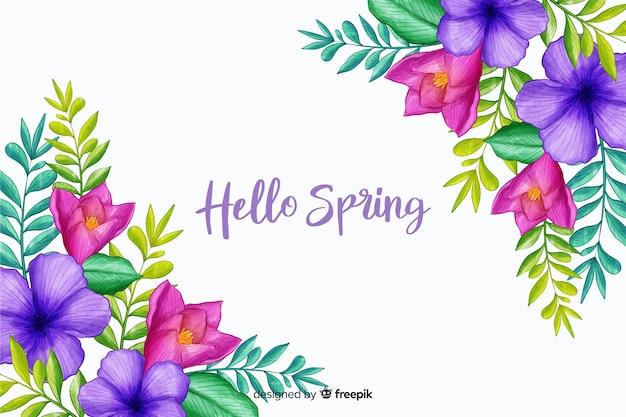 Весенние цветы с поздравительной цитатой Бесплатные векторы