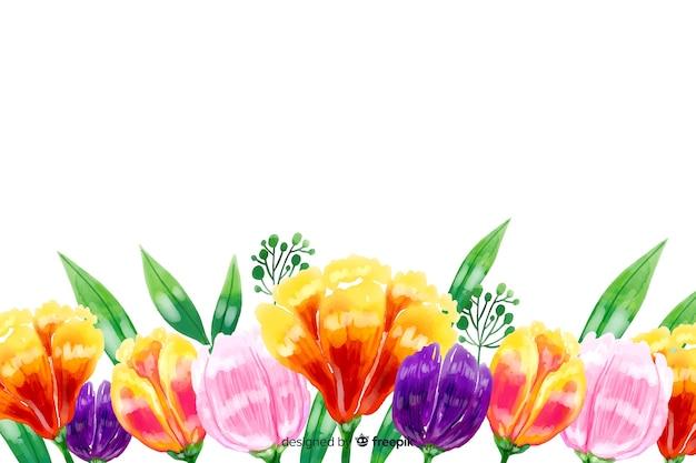 Естественный фон с яркими акварельными цветами Бесплатные векторы