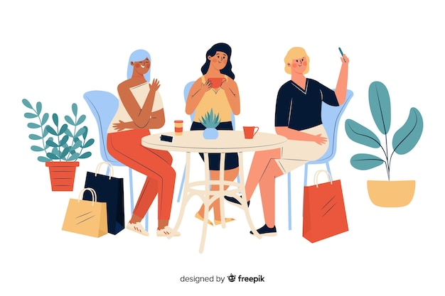 Молодые женщины проводят время вместе в доме Бесплатные векторы