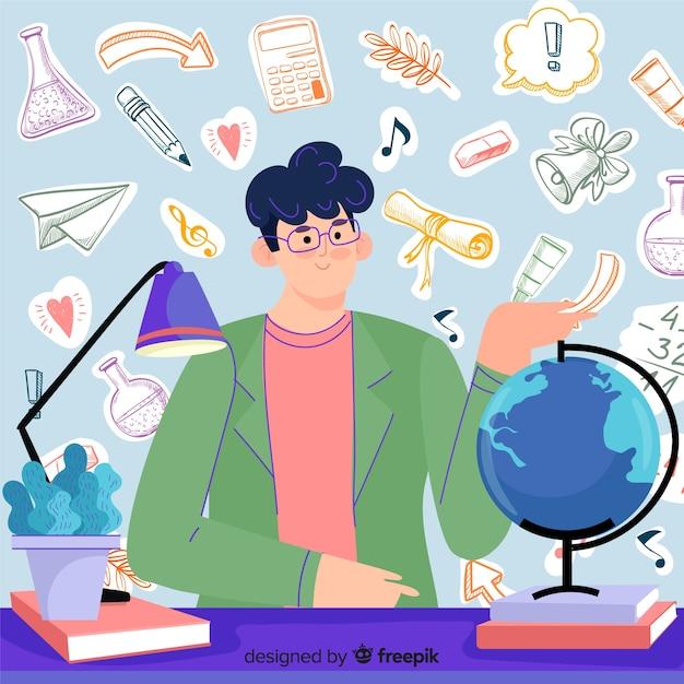 手描き世界教師の日 無料ベクター