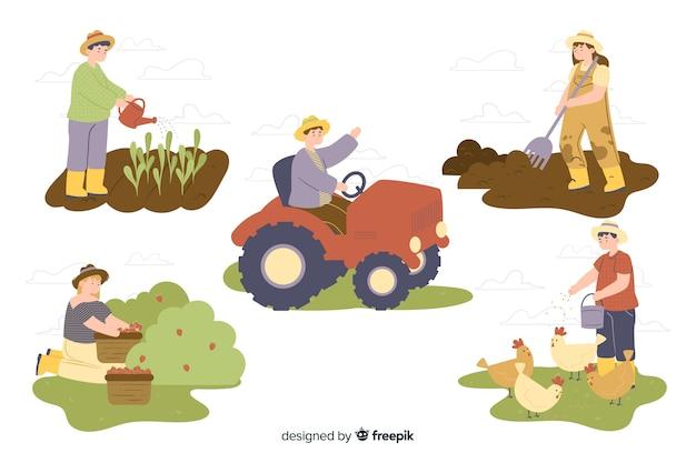 農場労働者のコレクション 無料ベクター