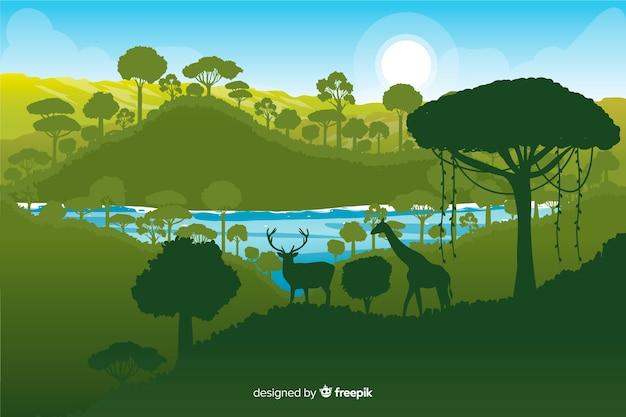 さまざまな緑の色合いと熱帯林の背景 無料ベクター