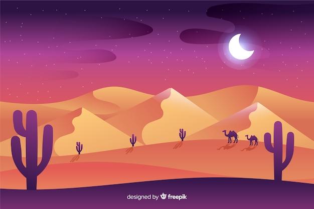 Пустынный пейзаж в ночное время Бесплатные векторы