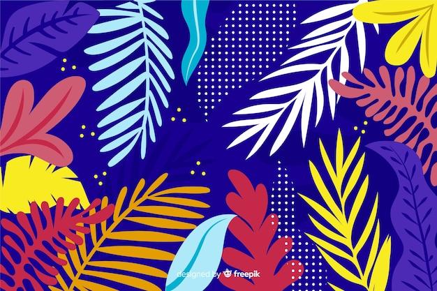 Красочные рисованной абстрактный фон листья Бесплатные векторы