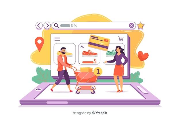 リンク先ページのオンラインショッピングの概念 無料ベクター