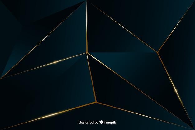 ゴールデンラインとエレガントな暗い多角形の背景 無料ベクター