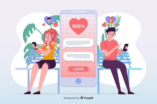 Мальчик и девочка с помощью приложения знакомств Бесплатные векторы