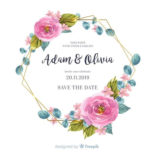 水彩花のフレームの結婚式の招待状 無料ベクター