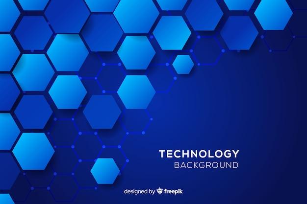 Технологический сотовый синий фон Бесплатные векторы
