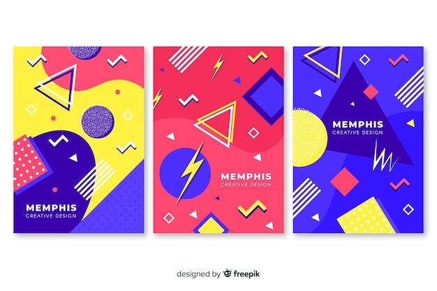 Коллекция красочных мемфисских обложек Бесплатные векторы