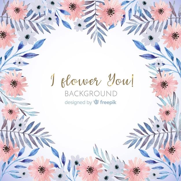 かわいい水彩画の花のフレームの背景 無料ベクター