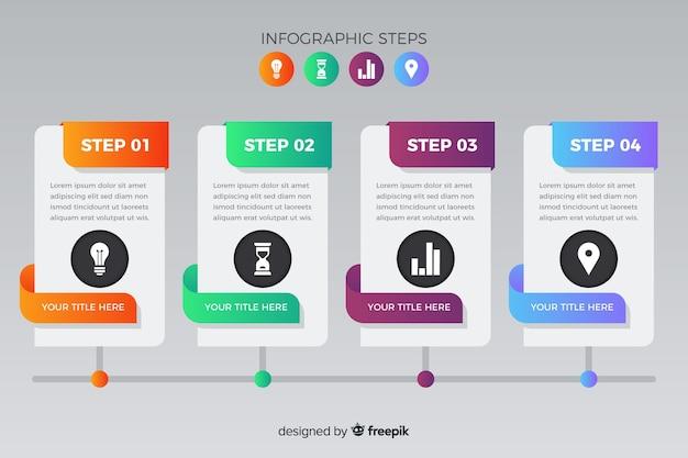 Пакет градиентных инфографических шагов Бесплатные векторы