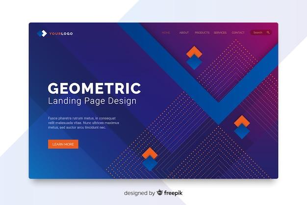 カラフルな抽象的な幾何学的図形のランディングページ 無料ベクター