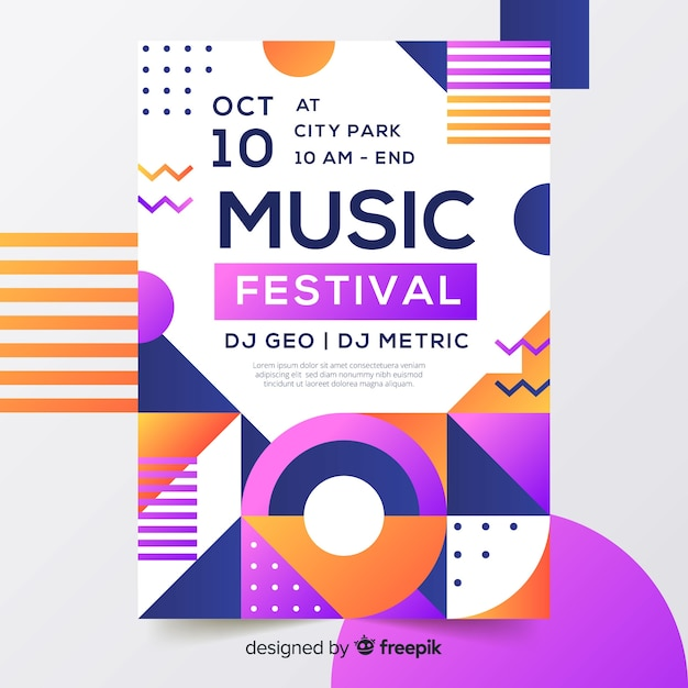 Красочный геометрический музыкальный плакат в стиле мемфис Бесплатные векторы